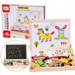 Kids Toys ของเล่นเสริมพัฒนาการ กระดานไม้แม่เหล็ก 2 in 1พร้อมจิ๊กซอว์รูปสัตว์