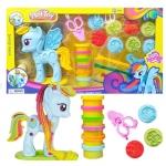 Ohlala ชุดแป้งโดว์ ม้า Little horse ไซต์ใหญ่ แต่งตัวม้าโพนี่และแป้งโดว์ 6สี (ม้าสีฟ้า)