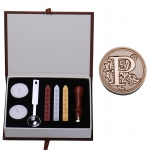 P Initial Letter Vintage Alphabet Wax Badge Seal Stamp w/Wax KitSet Letter A-Z Optional (Intl)