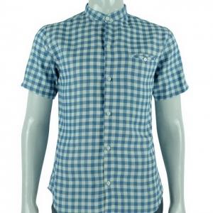 เสื้อเชิ้ตผู้ชาย แขนสั้น ลายสก็อตฟ้าขาว