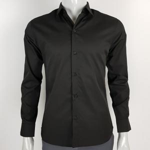 เสื้อเชิ้คผู้ชายสีดำแขนยาว คอปก