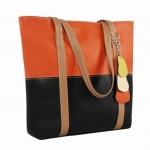 กระเป๋าสะพายหนัง สีส้ม-ดำ