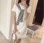 (ภาพจริง) เดรสแฟชั่น สไตล์กะลาสี ผ้าผูกลายทาง สีขาว